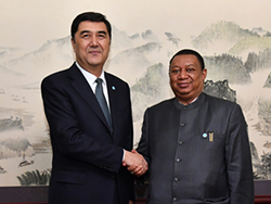 HE Nur Bekri, Vice Chairman of China's National Development and Reform Commission and Administrator of the National Energy Administration (l); and HE Mohammad Sanusi Barkindo, OPEC Secretary General