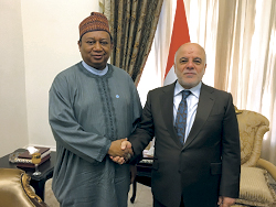 HE Dr. Haider Al-Abadi, Prime Minister of Iraq (r) with HE Barkindo, OPEC Secretary General