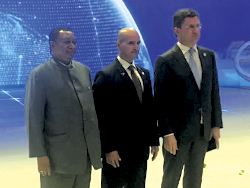 (r-l) HE Alexander Novak, Russia's Minister of Energy; HE Issam A. Almarzooq, Kuwait's Minister of Oil & Minister of Electricity & Water; and HE Mohammad Sanusi Barkindo, OPEC Secretary General