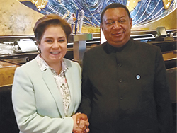 Ms. Patricia Espinosa, UNFCCC Executive Secretary, with HE Barkindo, OPEC Secretary General