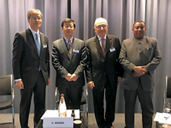 (l-r) Mr. Keisuke Sadamori, Director, Energy Markets & Security, IEA; HE Dr. Sun Xiansheng, Secretary General, IEF; Mr. Claude Mandil, former Executive Director, IEA; and HE Mohammad Sanusi Barkindo, OPEC Secretary General
