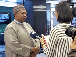 OPEC Secretary General, HE Barkindo, speaking to journalists in Istanbul